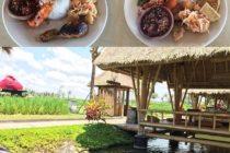 ランチにおすすめ「バレ・ウダン」池に浮かぶ東屋で涼しくのんびり過ごせます️エビが売りのお店なのでナシチャンプルにももちろんエビが#bali #バリ